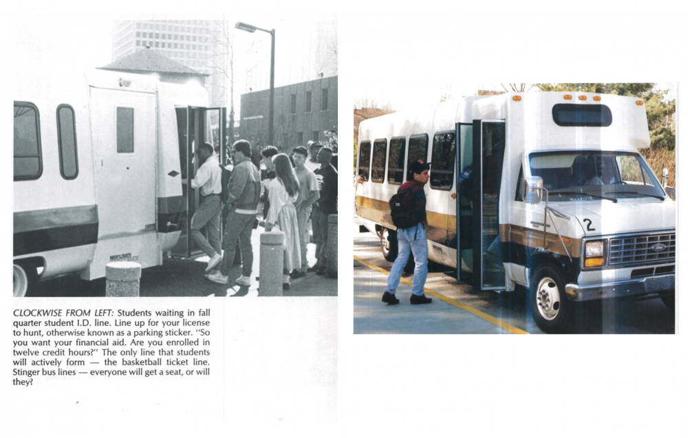 ALL ABOARD: Students wait in line to board the Stinger in 1990. Back then, ID was required to ride campus transit.