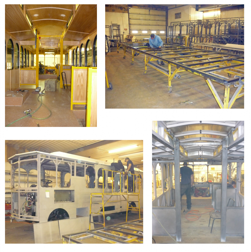 BEFORE AND AFTER: The Tech Trolley debuted on campus in 2003 with the opening of Tech Square. Designed in the tradition of San Francisco trolleys, it provided transportation from Tech Square's Midtown location to main campus.