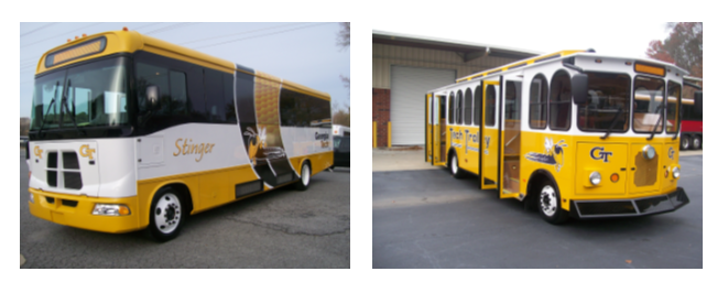 BUILT TO LAST: A new transit fleet made its way to campus in 2010. Trolleys were built in Wisconsin and driven to Georgia.