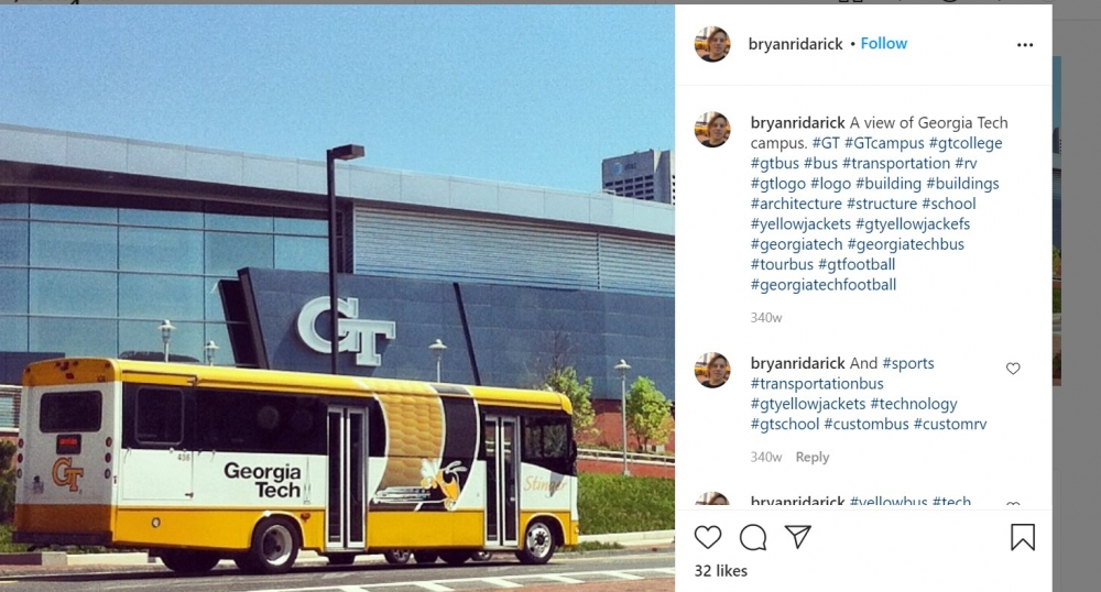 PICTURE PERFECT: The Stinger bus sails past McCamish Pavilion on its way to the main campus.