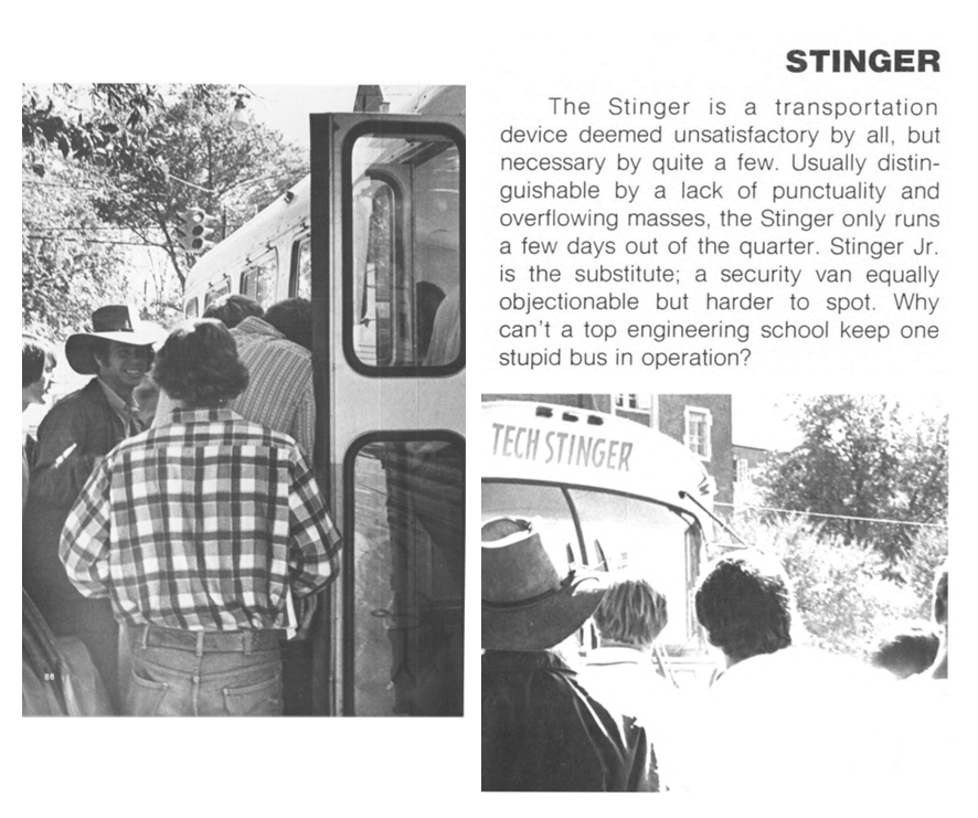 CRITICS CHOICE: In its early days, Tech Transit was not without criticism. The Technique published this statement in 1973 highlighting mixed reviews of the Stinger bus and the newly implemented Stinger Jr.