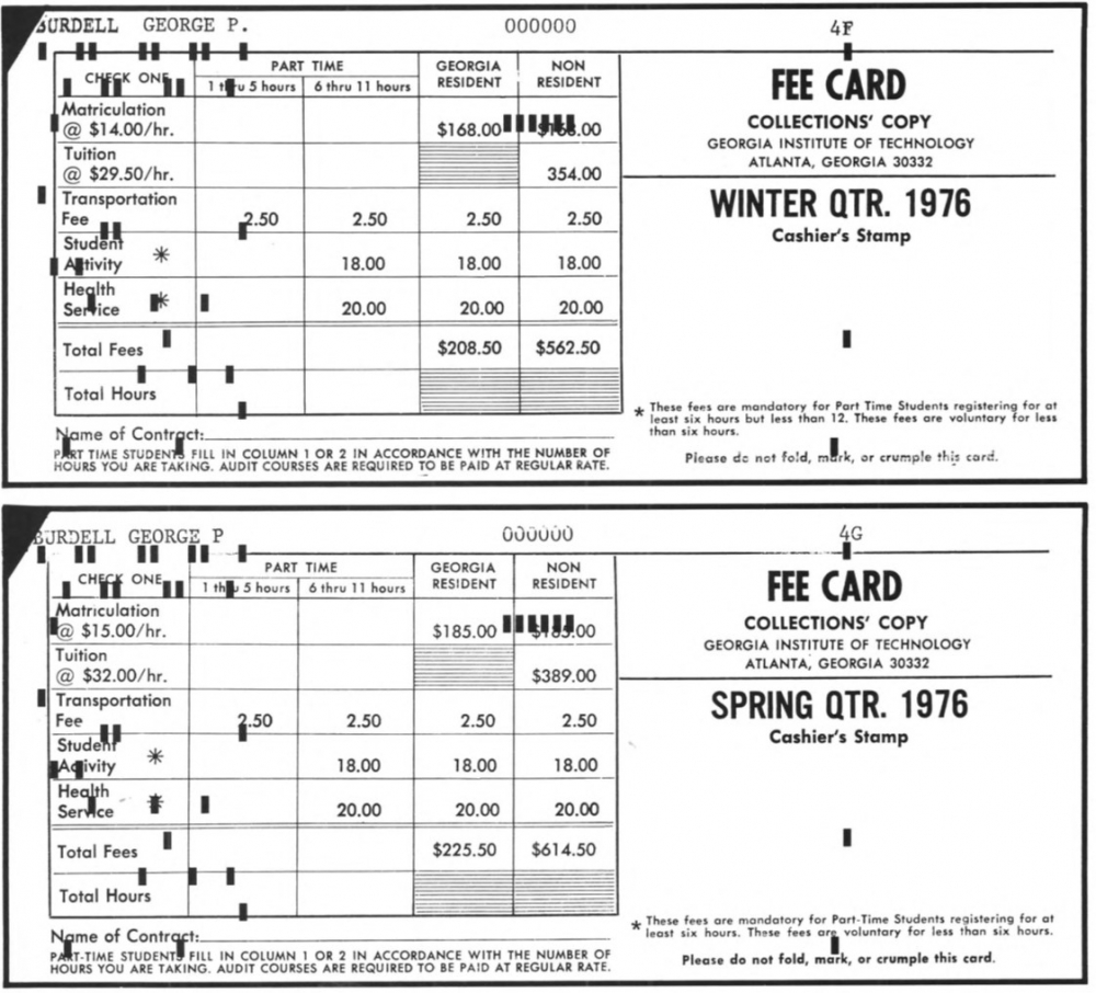 PAY YOUR WAY: Student paid quarterly fees in 1976, with only $2.50 for transportation.