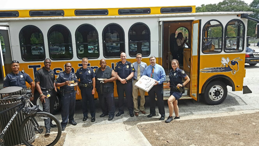 SPECIAL DELIVERY: Tech Transit operations staff delivered pizzas to GT Police in summer 2016.