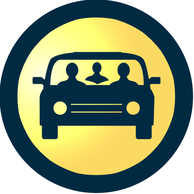 Icon of three people in a car