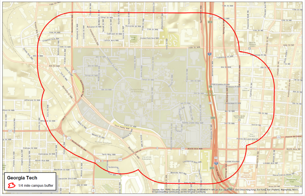 Map with red marking the carpool boundary